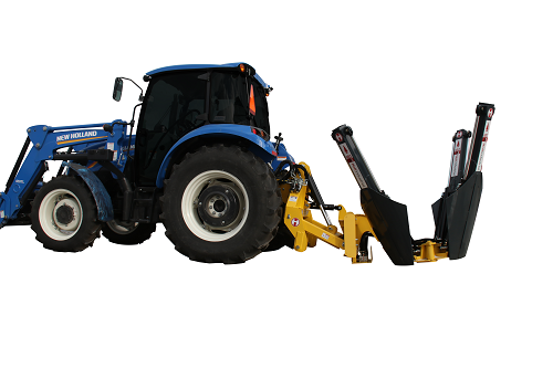 Tree spade mounted on New Halland tractor